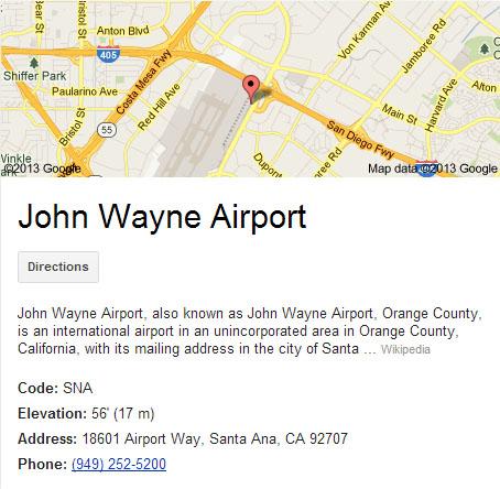 John Wayne Airport SNA Executive Transportation